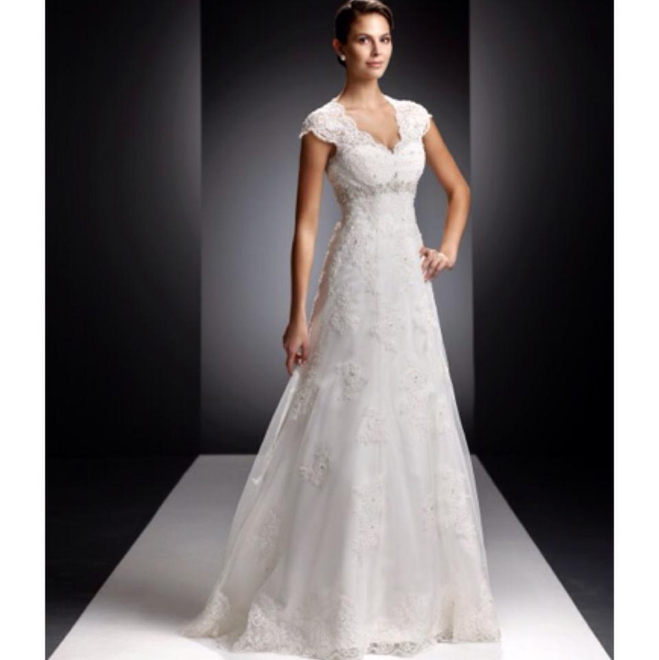David 39 s bridal petite lace satin wedding dress with cap for Petite lace wedding dresses