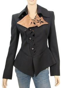Jean-Paul Gaultier Structured Cut-out Embroidered Wool Black Blazer
