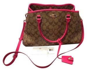 Coach Carryall Satchel Leather Khaki/Ruby Cross Body Bag