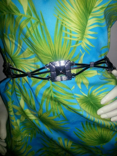 Unknown Leather & silver metal 'chain' belt