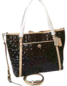 Coach Peyton Embossed Patent Leather Crossbody Tote in Black
