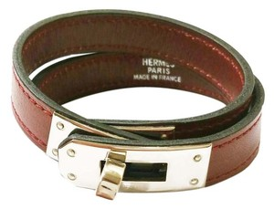 Hermès Authentic Hermes Oxblood Kelly Double Tour Palladium Turn Bracelet