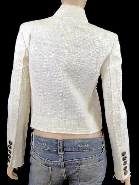Just Cavalli Linen Embroidered Boucle Cotton Crochet Ivory, Cream Jacket