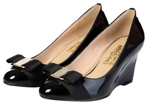 Salvatore Ferragamo Patent Leather Wedge Mirabel Black Wedges