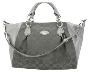 Coach Collette Leather Grey Signature C Satchel in Grey/Silver