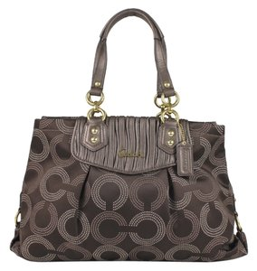 Coach Ashley Carryall Gathered Dotted Op Art Tote in Brown