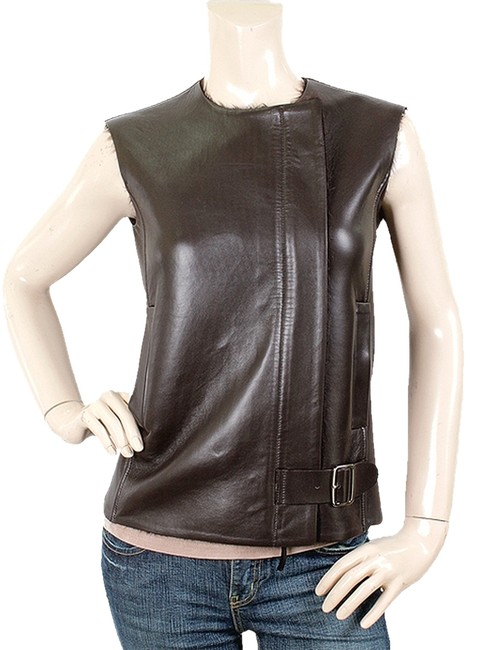 Preload https://item1.tradesy.com/images/max-mara-leather-belted-brown-vest-1078000-0-0.jpg?width=400&height=650