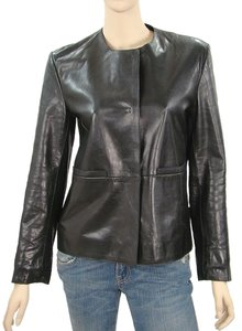 Miu Miu Leather Collarless Calfskin Leather Jacket