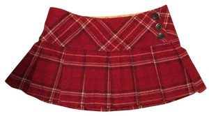Abercrombie & Fitch Plaid Plaid Mini Skirt Red