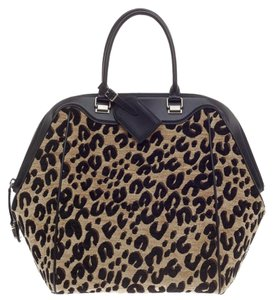 Louis Vuitton Leather Satchel in Leopard print and Black