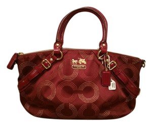 Coach Signature Dotted Op Art Sophia Structured Satchel in Burgundy