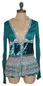 Anthropologie Velvet Lace Hazel Crinkled Cardigan