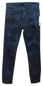 Mother Tie Dye Stretch Skinny Jeans-Dark Rinse