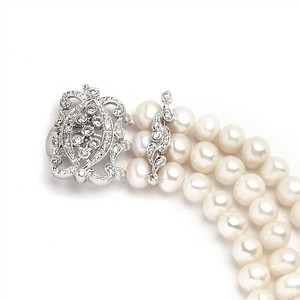 Breathtaking Vintage Art Deco Crystal Clasp Fresh Water Pearls Bridal