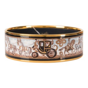 "Hermès Hermes ""Horse and Carriage"" Printed Enamel Wide Bracelet PM (65)"