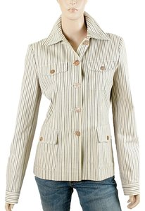 Philosophy di Alberta Ferretti Striped Pinstripe Cotton Ivory, Cream Jacket