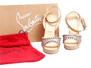 Christian Louboutin Red Soles Studded Glitter Sandals Nude/Glitter Multicolor Platforms