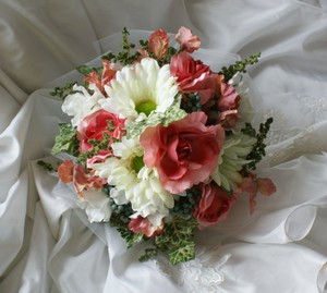 Silk Bridal Bouquet Of Roses And Gebera Daisies