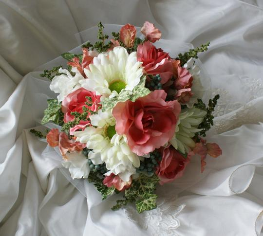 Pink and Ivory Silk Bridal Bouquet Of Roses Gebera Daisies Other