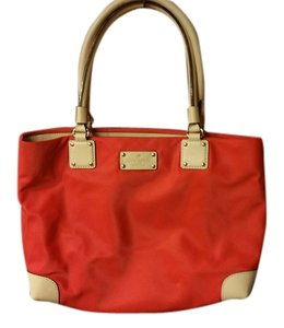 Kate Spade Tote in Red/Tan Leather Trim
