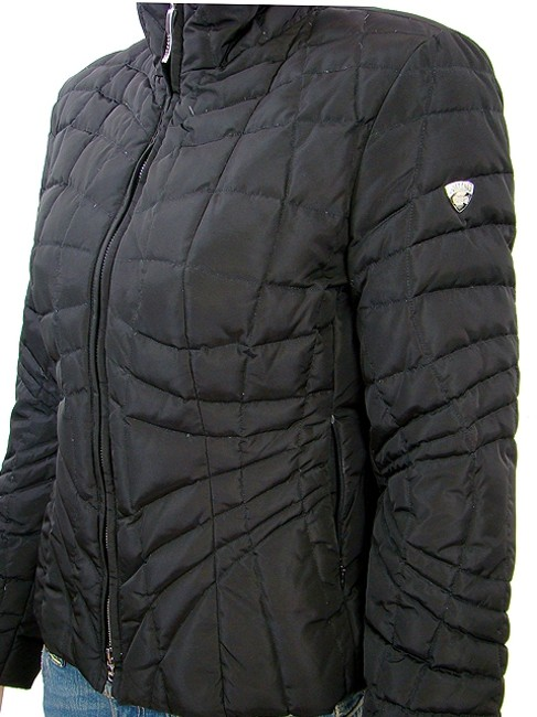Post Card Nylon Puffer Quilted Down Black Jacket