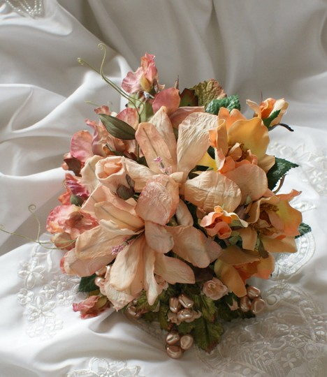Peach and Pink Silk Bridal Bouquet Other
