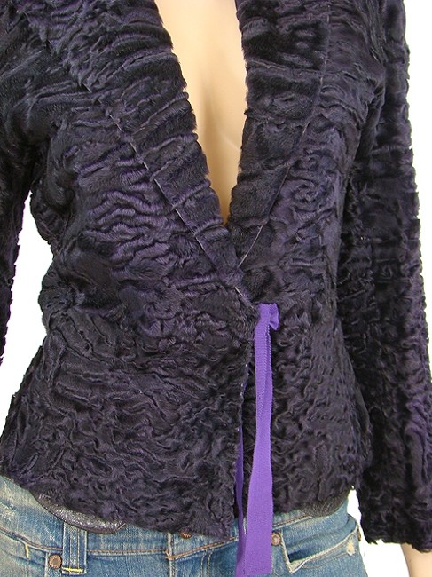 Prada Fur Party Evening Ribbon Purple Jacket