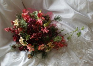 Lifelike Wedding Bouquet In Shades Of Wine Burgundy Peaches Pinks And Plums