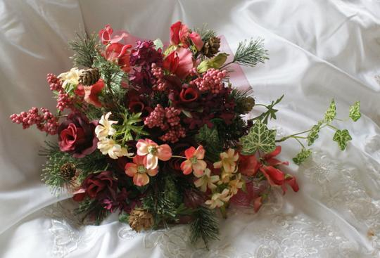 Burgundy Wine Peach Pink Plum Lifelike Bouquet In Shades Of Peaches And Other