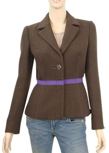 Prada Wool Grosgrain Cropped Brown Jacket