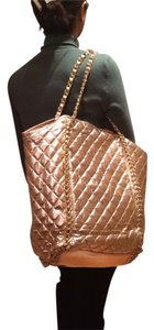 Alya Quilted Gold Leather Tote in Rose Gold/pink