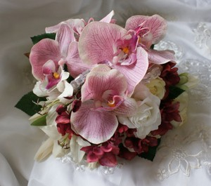 Phalaenopsis Orchid And Rose Bouquet In Pinks Ivory And Wine