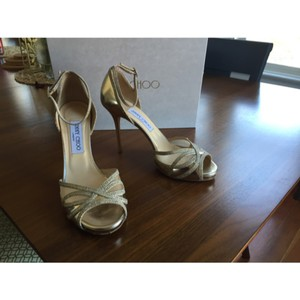 Jimmy Choo Gold Sandals Size US 8.5 Regular (M, B)