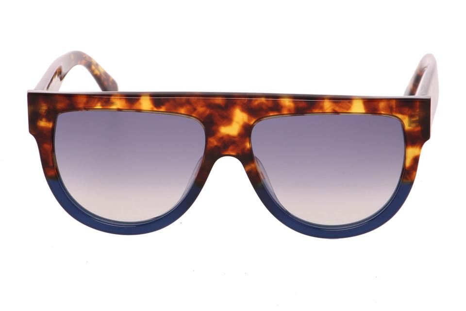 5cead6121078 Céline Tortoise and Navy Tortoiseshell Top Bar Ultra Trendy Made In Italy  Sunglasses - Tradesy