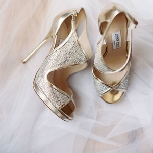 Jimmy Choo Gold Leondra Sandals Size US 8.5 Regular (M, B)