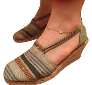 Montego Bay Club Linen Espadrille Green/Multi Wedges