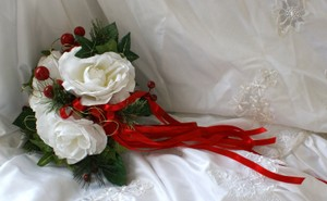 Christmas Bridal Silk Nosegay
