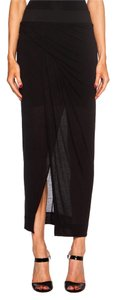 Helmut Lang Long Wrap Front Slit Knit Maxi Skirt Black