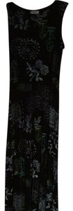 Black with green light blue accents Maxi Dress by Coldwater Creek Wrinkle Resistant