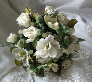 Silk Bridal Bouquet In Shades Of Ivory