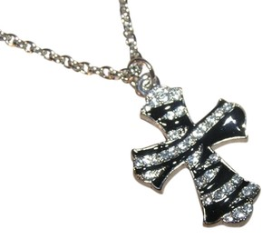 Paris Collection Black and Silver Rhinestone Zebra Cross Necklace Free Shipping