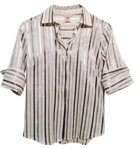 Pink Tartan Striped And 3/4 Sleeve Button Down Shirt White, Grey, Silver
