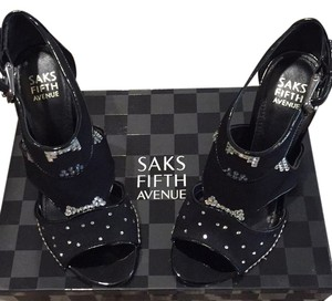 Saks Fifth Avenue Studded Stilletto Sexy Black Formal