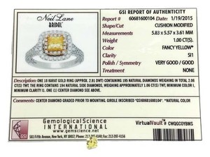 Neil Lane Loose 1.00 Carat Fancy Yellow SI1 Quality Cushion Shaped Diamond