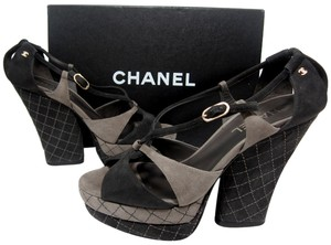 Chanel Runway Quilted Cc Gold Logo Cutout Wedge Sandals Cage Brown Black Platforms