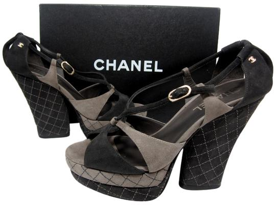 Preload https://item3.tradesy.com/images/chanel-brown-black-new-suede-limited-edition-quilted-cc-gold-logo-wedge-sandals-escarpins-platforms--1078297-0-2.jpg?width=440&height=440