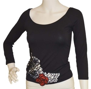 Blumarine Polyerster New Tag Top black / reds