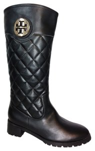 Tory Burch Leather Quilted Riding Black Boots