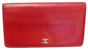 Chanel CHANEL SIGNATURE CC LOGO RED CONTINENTAL Calf Skin Leather Long WALLET