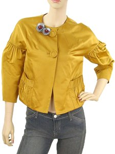 Vera Wang Beaded Silk Sateen Satin Trumpet Embellished Applique Mustard, Yellow, Tan Jacket
